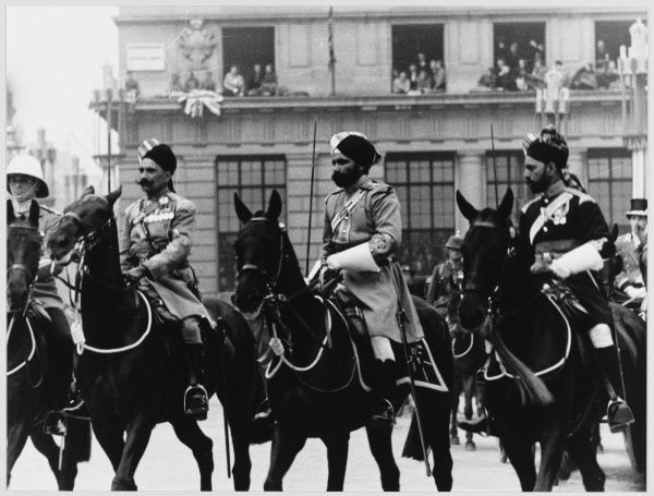 CORONATION Three Indian army horsemen at the coronation of George VI