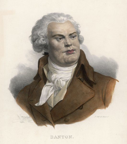 GEORGES JACQUES DANTON (1759 - 1794) a superb lithograph of the French Revolutionary leader, warts (or rather, smallpox) and all