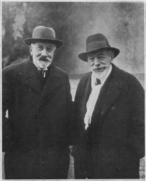 GEORGES MELIES French film director (on the left); first to film fictional narratives using scripts etc. Photographed here with his collaborator, EMILE COLE