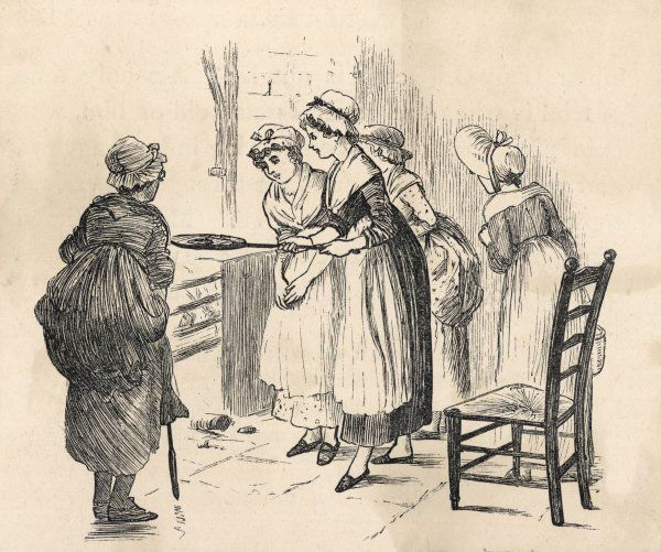 A group of young girls keenly watch as one of their number uses a griddle over an open fire while another stands by with a poker. Is it supper or a fortune telling custom?