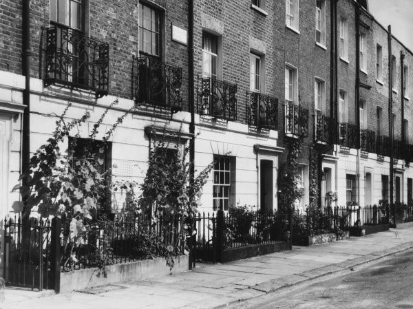 Georgian houses in Selwood Place, a quiet street in Chelsea, London