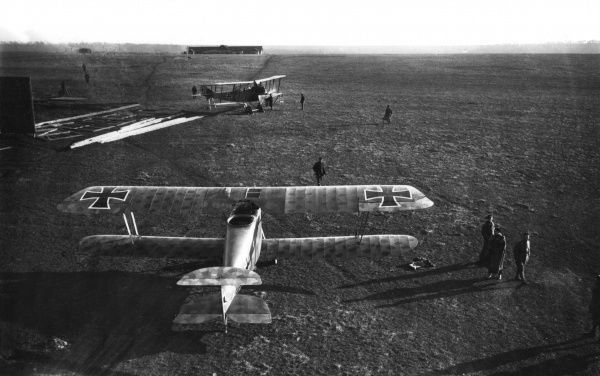 A German airfield with two Hannover biplanes and crew during the First World War. Date: circa 1917-1918