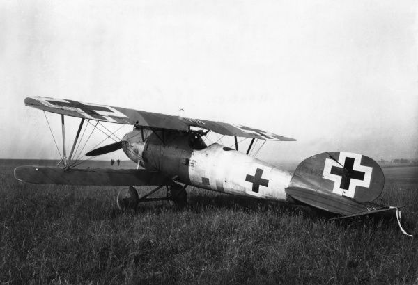 A German Albatros D.V fighter biplane in service towards the end of the First World War.  1917-1918