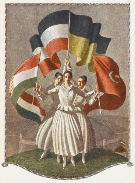 A propaganda postcard depicting the flags of the allies of the First World War