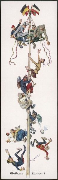 A terrific fold-out card depicting the German allies as the dominant holders of a spot at the top of the European maypole as their enemies fail to cling on as they attempt an ascent