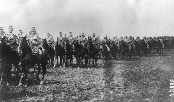 German cavalry on manoeuvres in Belgium during the First World War. Date: 1914-1918