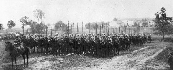 German cavalry before an attack during World War I on the Western Front