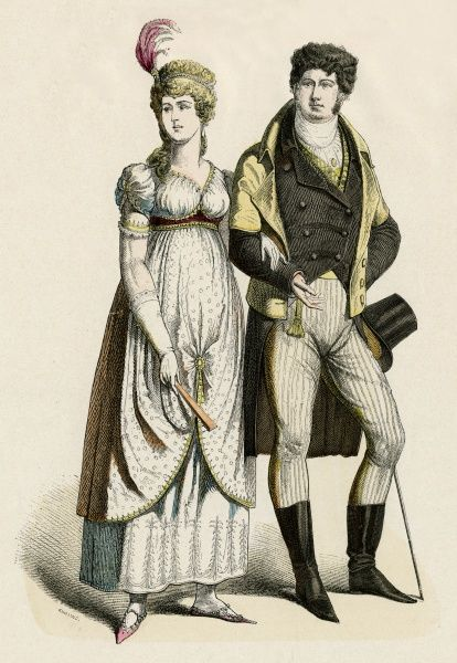 A well-dressed German couple during the Napoleonic period Date: 1800
