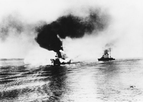 German Cruisers Goeben and Breslau in front of the Dardanelles during World War I