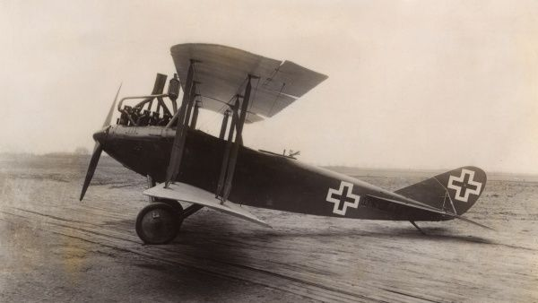 A German DFW CV reconnaissance two-seater biplane with a Benz BZ4 six-cylinder engine, during the First World War. Date: 1916-1918