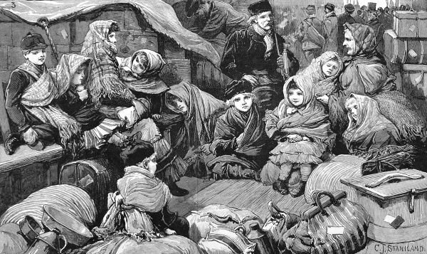 Engraving showing German emigrants waiting at Liverpool railway station for the next stage of their long journey to Canada, 1884. A touching scene of children wrapped up against the cold, surrounded by luggage