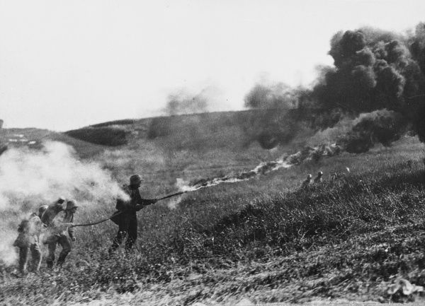 German flamethower in action on the Western Front during World War I