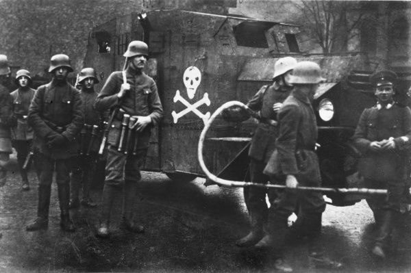 The German Freikorps with an armoured car and a flame thrower