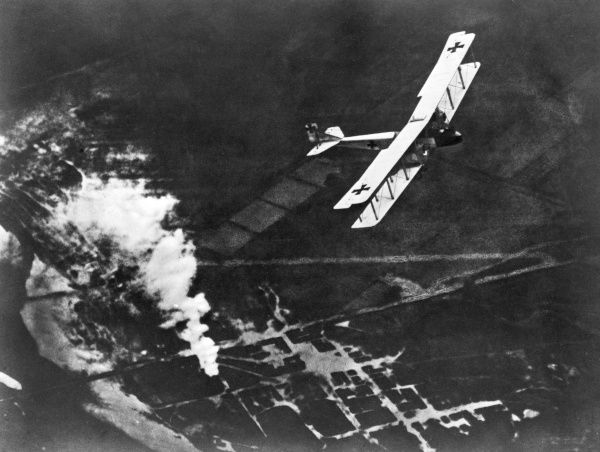 A German Gotha heavy bomber biplane in flight during the First World War. Date: 1914-1918