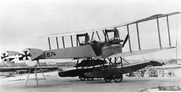 A German Gotha WD7 seaplane (water biplane), used for reconnaissance work during the First World War. It had two 120 hp Mercedes engines. Date: 1916-1918