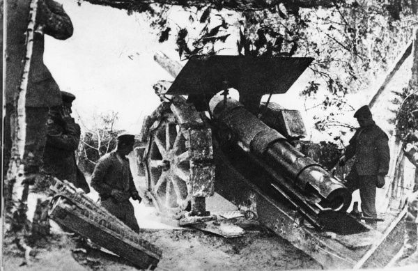 German gunners in action with heavy artillery near Verdun, north eastern France, during the First World War. Date: 1914-1918