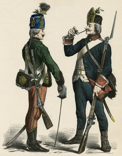 German Hussar and Infantryman Date: 1770