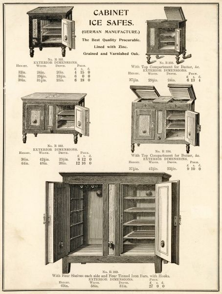 A selection of German made cabinet ice safes