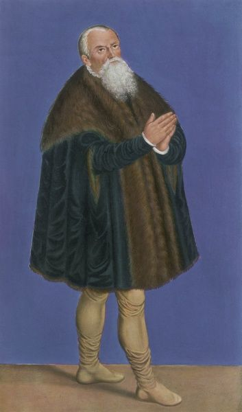 The artist Lucas Cranach, the elder, wears a short, thick fur coat and leather breeches