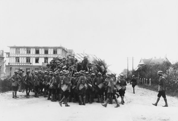 German marines in a sea coast village in Flanders during World War I