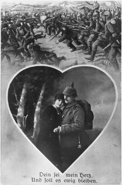 German memory card for couple depicting victorious German troops routing their enemy