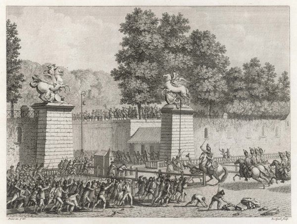 As Paris seethes with unrest, the prince de Lambesc orders German troops to the Tuileries Gardens, where they harass the crowd and get park chairs thrown at them