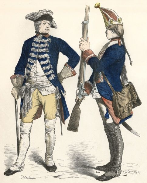 Prussian troops : Officer of a Guard Battalion, saluted by a Grenadier Date: 1760