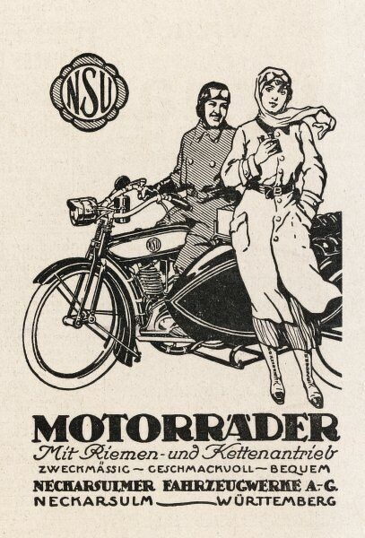 A German couple with their Motorader motor-cycle and sidecar
