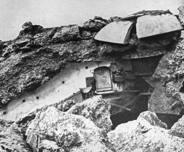 Damage to a fort in Liege, Belgium, caused by a 42cm German mortar during the First World War. Date: 1914-1918