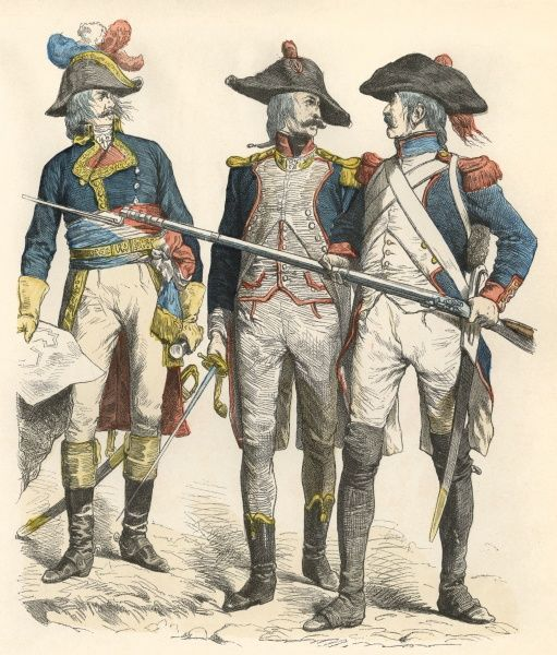 General (left), Light Infantry officer (centre) and Infantry (right) Date: 1795