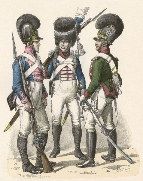 Infantry (left), Grenadier Guard (centre) and Cavalry (right) Date: 1805 - 1825