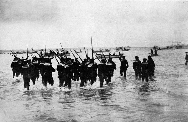 A photograph showing the German navy engaged on landing manouevres. Invasion of Britain by German forces remained a threat throughout World War I and II