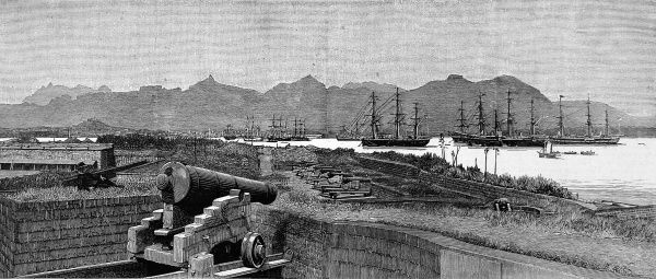 Engraving showing a squadron of German Navy ships at anchor in the harbour of Port Louis, Mauritius, 1885