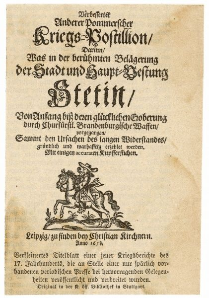 Front page of the KRIEGS- POSTILLION, bringing news of the war to the people of Leipzig