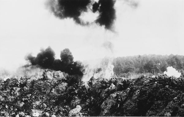 Occupation of an immense mine crater by German troops immediately after it had been sprung on the Western Front during World War I