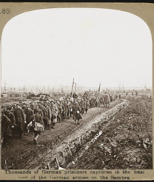 Thousands of German prisoners captured in the fighting on the Sambre River or Canal