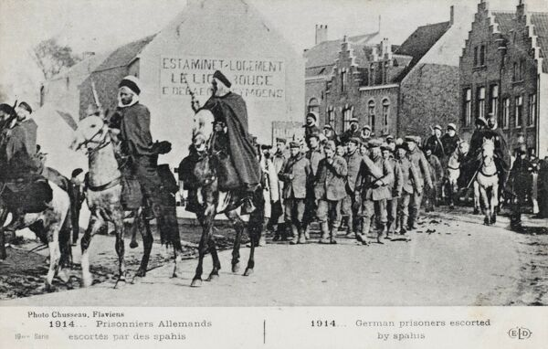 German prisoners escorted by Spahis, Algerian and Senegalese Cavalry units, who fought on the allied side during the First World War