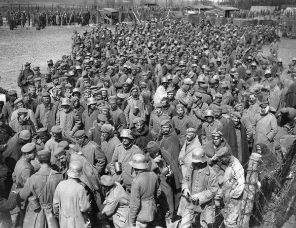German prisoners of war captured during the Battle of Arras, northern France, during the First World War. Seen here held in the 'cage' or detention centre. Date: April 1917