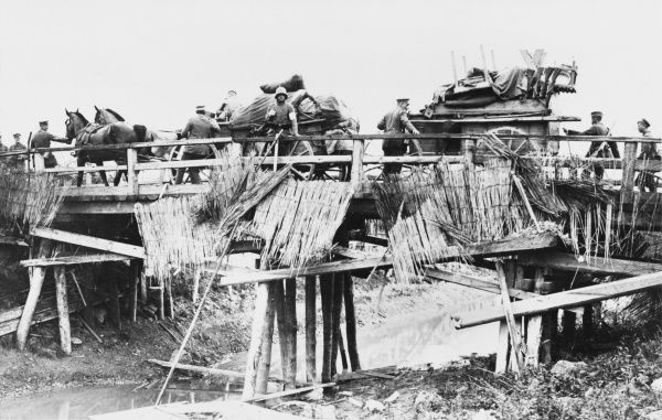 German transport crossing the canal bridge at Bellenglise on the Western Front during World War I