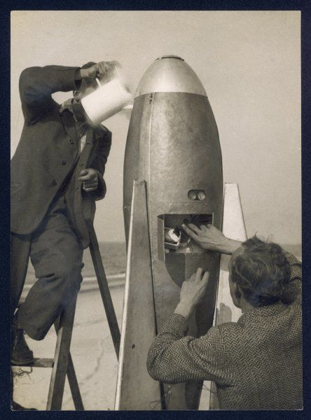 German rocket experiments on a windswept spit of land - filling the device with its chemical fuel