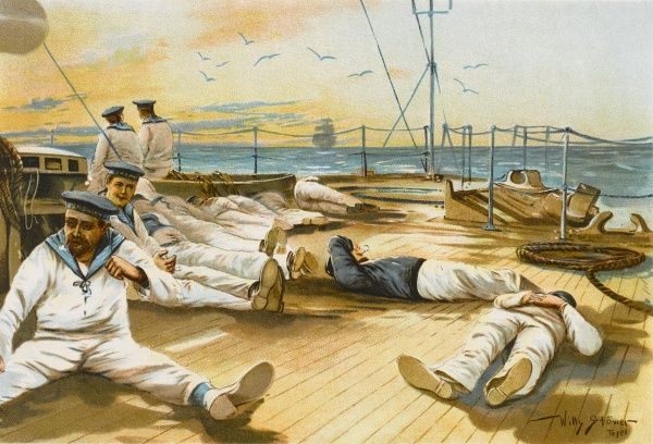 Sailors relax on deck on a Sunday afternoon