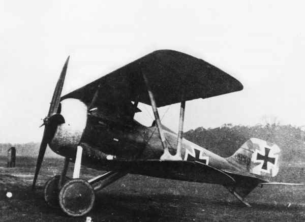 A German Siemens Schuckert D.III single-seat fighter plane (2nd version), in service towards the end of the First World War. Date: 1917-1918