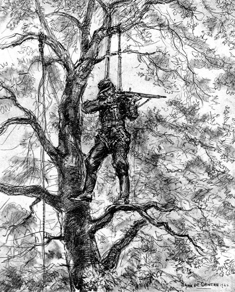 Illustration showing a German sniper, suspended in a tree by a parachute-style attachment, taking aim at nearby Allied troops, Normandy, 1944. The rope to the left of the sniper was made ready for a quick descent, if required