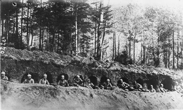 German troops stationed in the trenches in the forest of Argonne during World War I on the Western Front