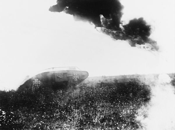 French liquid fire attack on a captured German Mark IV tank on the Western Front in France during World War I in 1918