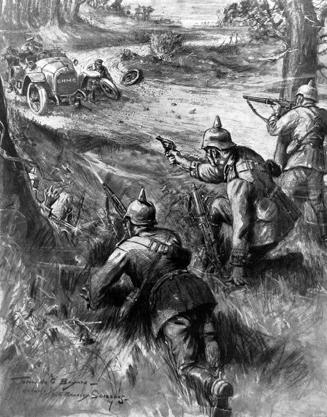 An illustration by John de Bryan showing German soldiers firing upon a British motor after it has come upon broken wine bottle glass laid in the road by the Germans during World War I