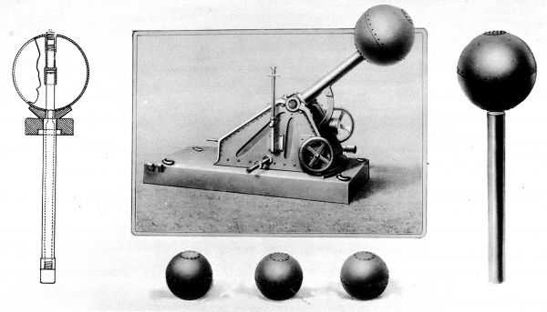 A weapon which throws a 187 lb mine shell