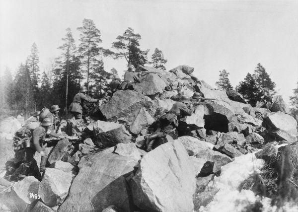 German troops battle with Red troops in Helsinki, Finland during World War I