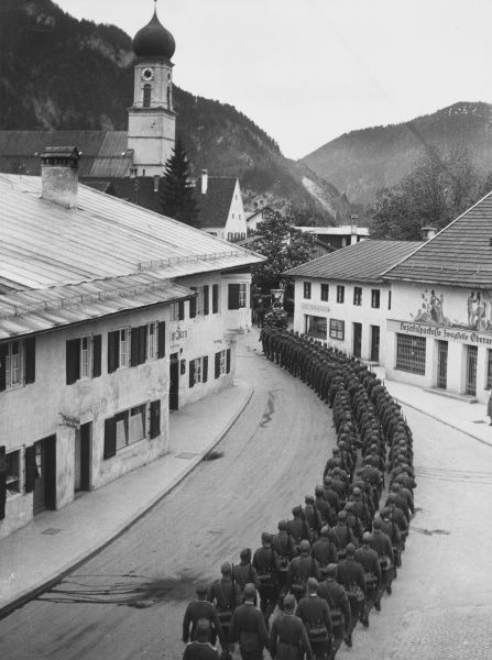 German troops marching through Oberammergau, Germany in 1935
