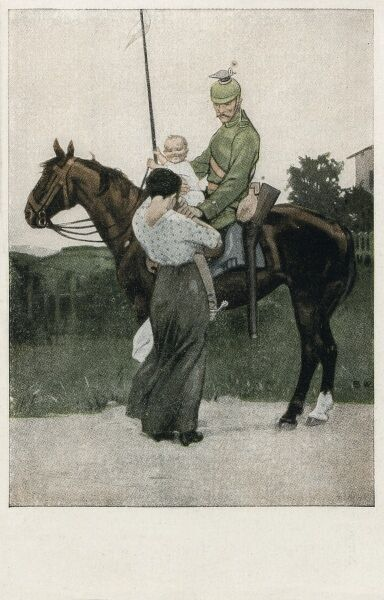 Sentimental romantic postcard of a member of the Uhlan Cavalry bidding farewell to his wife and their young child. In 1914 the Imperial German Army included twenty-six Uhlan regiments. Note the distinctive Polish-originating Czapka cap/helmet